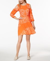 Maison Jules Printed Cold Shoulder Dress Created For Macy's Exotic Orange Combo