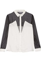 Balmain Pierre Two Tone Silk Satin And Georgette Shirt White