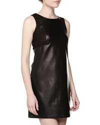 Neiman Marcus Lace Trimmed Faux Leather Dress Black