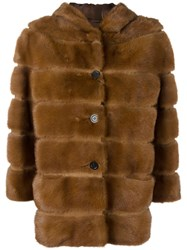 Simonetta Ravizza Quilted Button Down Jacket Brown