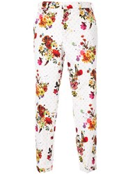 Loveless Floral Print Cropped Trousers White