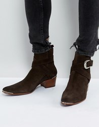 Jeffery West Murphy Buckle Boots In Brown Suede Brown