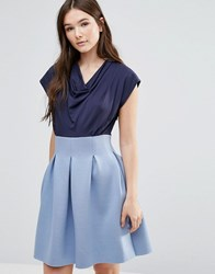 Closet London Full Skirt Cowl Neck Dress Navy And Pale Blue