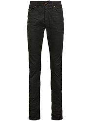 Saint Laurent Black Coated Skinny Jeans