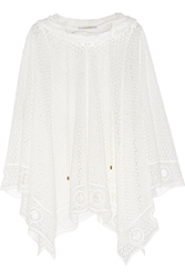 Chloe Hooded Cotton Blend Lace Poncho