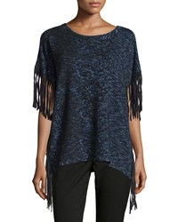 Alberto Makali Short Sleeve Fringed Knit Poncho Midnight Black