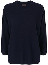 Oyuna Cropped Sleeve Pullover Women Cashmere One Size Blue
