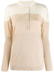 Burberry Two Tone Polo Shirt Neutrals