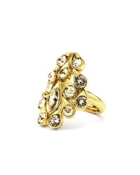 Oscar De La Renta Framed Teardrop Crystal Ring Gold