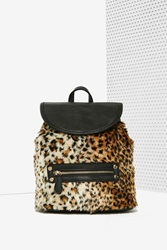 Nasty Gal Hadley Faux Fur Leopard Backpack