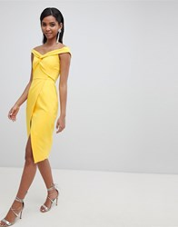 Lavish Alice Twisted Off The Shoulder Wrap Midi Dress Yellow
