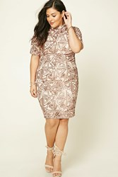 Forever 21 Plus Size Sequined Mini Dress Nude Rose
