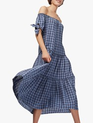 Brora Gingham Linen Sundress Chambray