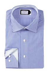 Lorenzo Uomo Long Sleeve Trim Fit Track Stripe Dress Shirt Blue