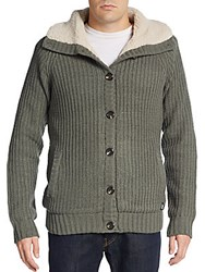 American Stitch Rib Knit Cardigan Green