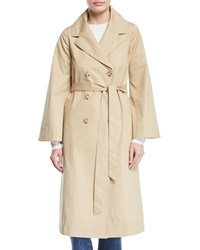Double Breasted Portrait Collar Belted Cotton Trench Coat Camel