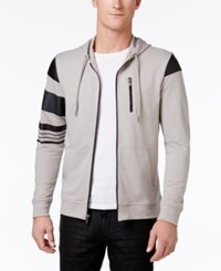 Inc International Concepts Men's Zip Front Hoodie With Faux Leather Piecing Only At Macy's Smoked Silver