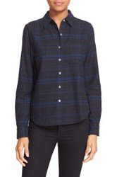 Equipment Kate Moss For Plaid Flannel Shirt Blue