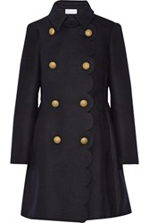 Red Valentino Redvalentino Scalloped Double Breasted Wool Blend Coat Midnight Blue
