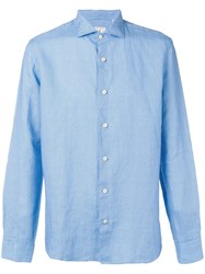 Drumohr Printed Button Up Shirt Blue