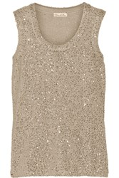 Oscar De La Renta Sequined Cashmere And Silk Blend Top Metallic