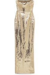 Alex Perry Howard Strapless Sequined Crepe Gown Gold