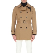 Sandro Magneticknit Cotton Trench Coat Brown
