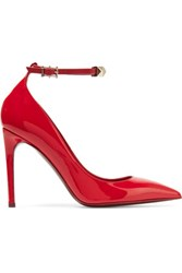 Valentino Rockstud Embellished Patent Leather Pumps Red