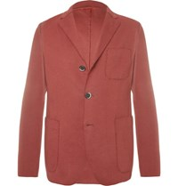 Barena Unstructured Cotton Blend Jersey Blazer Red
