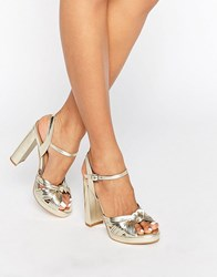 Truffle Collection Knot Front Platform Sandal Gold Pu