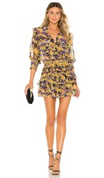 Misa Los Angeles Riona Dress In Yellow. Purple Yellow Floral
