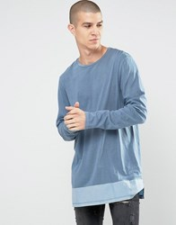 Asos Long Sleeve T Shirt With Woven Hem Panel Blue