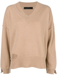 Federica Tosi Cut Detail Flared Sweater Nude And Neutrals