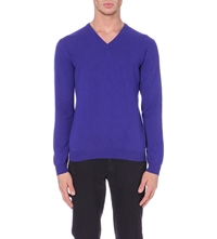 Slowear V Neck Cashmere Jumper Blue