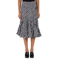 Comme Des Garcons Tricot Women's Gingham Seersucker Knee Length Skirt Navy