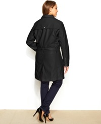 Kenneth Cole Reaction Plus Size Asymmetrical Belted Faux Leather Coat Black