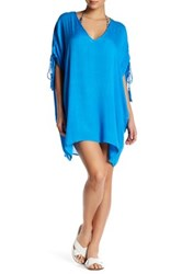 Red Carter Drawstring Shoulder Tunic Blue