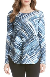 Karen Kane Women's Blue Diamond Print Long Sleeve Tee