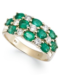 Macy's 14K Gold Ring Emerald 2 Ct. T.W. And Diamond 1 2 Ct. T.W. 3 Row Band