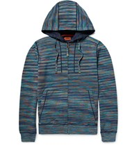 Missoni Slim Fit Space Dyed Knitted Cotton Zip Up Hoodie Blue