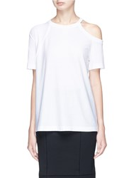 Helmut Lang Cutout Shoulder Pima Cotton T Shirt White