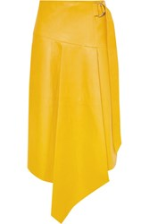 Tibi Tissue Asymmetric Leather Midi Skirt Yellow