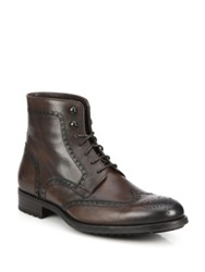 Saks Fifth Avenue By Magnanni Burnished Leather Wingtip Boots Dark Brown