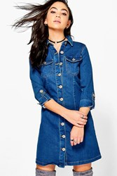 Boohoo 3 4 Sleeve Denim Button Through Dress Indigo