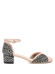 Salvatore Ferragamo Edda Woven Leather Block Heel Pumps Black Pink