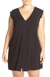 Plus Size Women's Midnight By Carole Hochman V Neck Jersey Chemise Black
