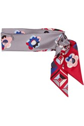 Fendi Printed Silk Scarf Gray