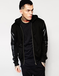 Religion Hoodie With Faux Leather Sleeves Black