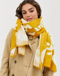 Pieces Printed Scarf Yellow