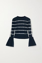 Self Portrait Embellished Striped Cable Knit Cotton Blend Sweater Midnight Blue